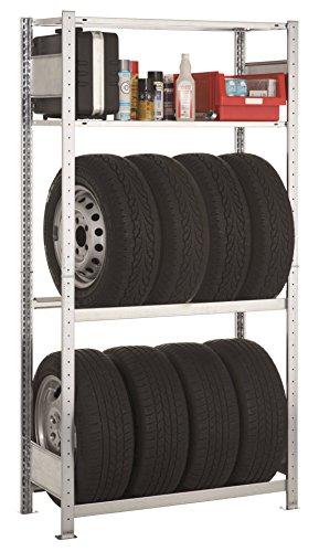 Preisvergleich Produktbild Garagenregal Set - 4 Böden - HxBxT 2.000 x 1.000 x 400 mm - verzinkt -Reifenregal