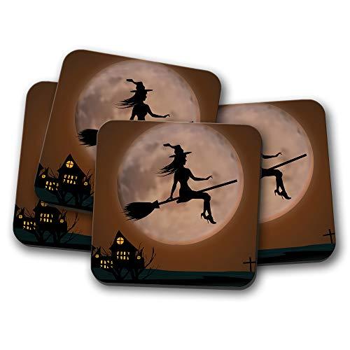 #16804 Untersetzer mit Hexen-Silhouette - Besen Halloween Spukgeschenk