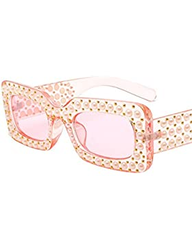 Aoligei Gafas de sol Europea y americana moda Plaza diamante redondo cara gafas de sol oscuras perlas mans marea