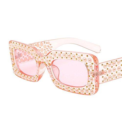 Aoligei Europäische und amerikanische Mode Platz Diamond Sonnenbrille Runde Gesicht dunkle Sonnenbrille Pearl Mans Flut