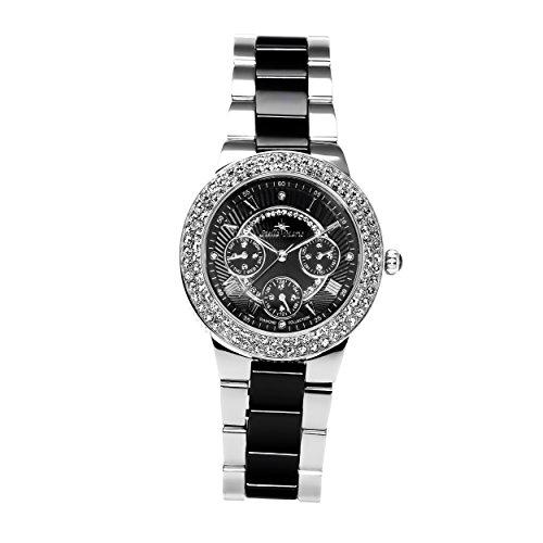 Stella Maris STM15S3- Reloj Pulsera analógico de Cuarzo para Mujer (con Diamantes), Correa de cerámica Blanco