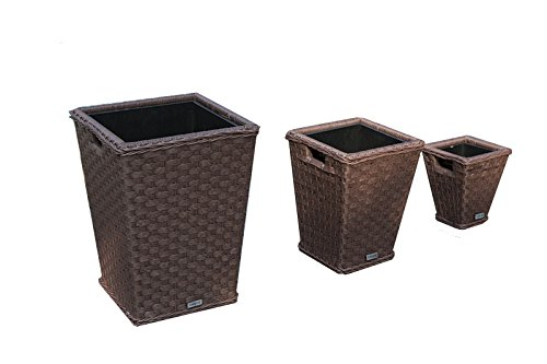 Yakoe Square Plastic Rattan Effect Indoor Outdoor Garden Planters Pot Brown Garden Rattan