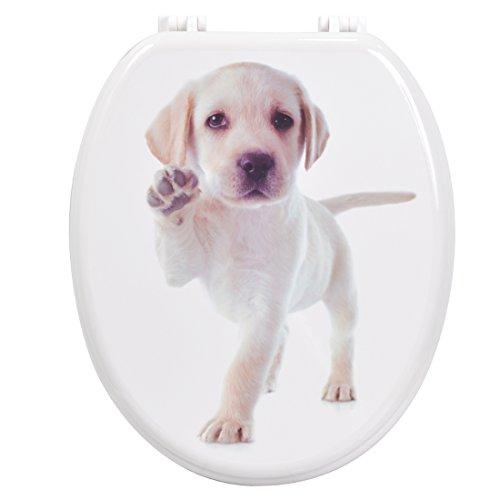 Carpemodo WC Sitz Toilettendeckel aus Holz mit Plastikscharnieren Hund