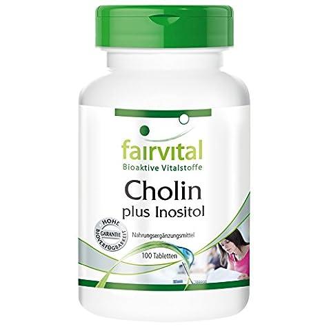 Cholin 100mg plus Inositol 250mg, vegan, 100 Tabletten - unterstützt ein gutes Gedächtnis, die Leber, das Nervensystem und gesunde Blutgefäße