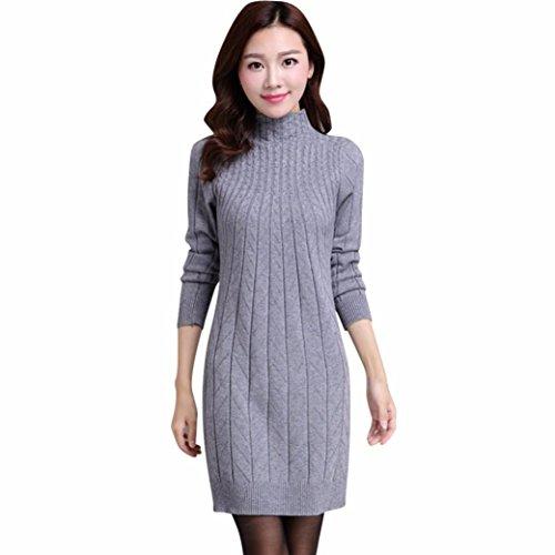Pullover Kleid Damen, GJKK Damen Dünner Hoher Kragen Strickender Lange Pullover Kleid Langarm O-Ausschnitt Minikleid (Grau, F)