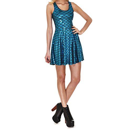 hibote Armellos Kleid Plus Size Damen Kleid Digital Print Mermaid Farbskalen Kleid Model 2 (Plus-size-print-rock)