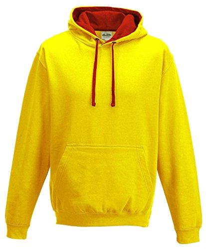 Just Hoods Varsity Sweat-shirt à capuche Sonnengelb / Rot