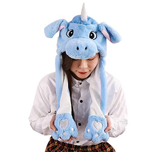 Stirnbänder Kostüm Hüte Tier - Woneart Plüsch Bunny Ohren Stirnband Kaninchen Ohren Hut-Kappe mit Beweglichen Ohren Tier Ostern Verkleidung Tiermütze Kostüm Plüschtiere (Blue Unicorn)
