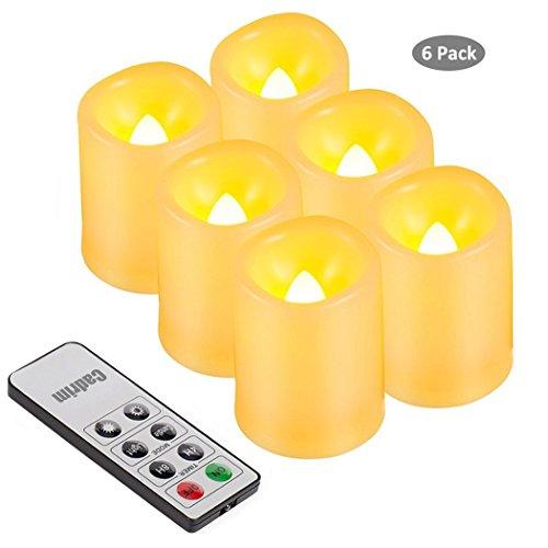 Cadrim 6 Led Kerzen LED Flammenlose Kerzen mit Fernbedienung für Weihnachten Gemütliche Abende mit Batterien Kerze Wandleuchte Silber