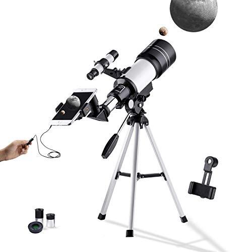 AYQ Teleskop Astronomie Monokular mit Sucherfernrohr Stativ & 2 Okular, Bonus mit Telefon-Adapter Drahtverschluss für Sterne beobachten & Vogelbeobachtung für Kinder Einsteiger 300-70mm