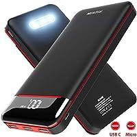 RLERON Batterie Externe 25000mAh Power Bank Chargeur Portable Deux Entrées & 3 Ports Haute Vitesse et Technologie Digi-Power pour Smartphone Tablette PSP D'Autre USB Via Type-C & Android Device