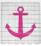 ABAKUHAUS Rayé Rideau de Douche, Marine Navire Ancre Côtière Antiquité Rustique Rayé Planches en Bois Amant De La Mer Océan, Tissu Résistant à l'eau, 175 X 200 cm, Blanc...