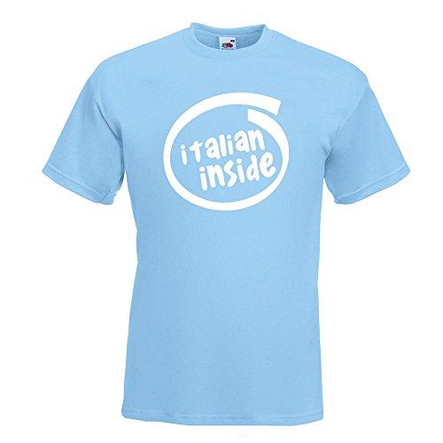 KIWISTAR - italien inside T-Shirt in 15 verschiedenen Farben - Herren Funshirt bedruckt Design Sprüche Spruch Motive Oberteil Baumwolle Print Größe S M L XL XXL Himmelblau