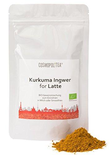 cosmopoliTEA® BIO Kurkuma Latte Ingwer, 150g, (Kurkuma-Pulver mit Ingwer), Goldene Milch im wiederverschließbaren Beutel (Pulver-tee-mix)