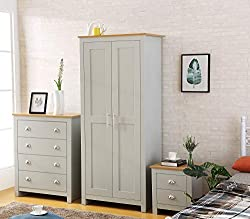Harmin COUNTRY SUPREME GREY with Oak 3 Piece Bedroom Furniture Set - Soft Close Wardrobe, Chest & Bedside