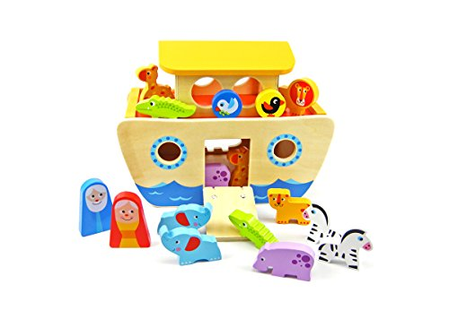 Tooky Toy - Noah's Ark with animals - Classic wooden toy from 24 months