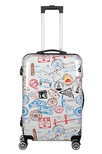 Polycarbonat Hartschalen Hardcase Trolley mit Zahlenschloss Koffer Kofferset 4 Rollen einfacher Transport (A7-Visa Stempel, Koffer XL 65x45cm) ()