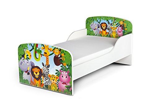 Leomark Holzbett Kinderbett Komplett Set 140x70 Funktionsbett Einzelbett Mit Matratze Sehr Einfache Zusammenbauen Jugendbett Juniorbett Praktisches Und Bequemes Bett Für Ihr Kind Bettgestell Jugendzimmer Kinderzimmer (Motiv: Dschungel tiere I) Safari -