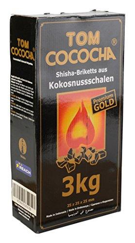 Tom Cococha Gold 3 kg-Wasserpfeifenkohle aus Kokosnussschalen-Würfel ca. 25 x 25 mm Shisha Kohle, Kohlenstoff, Schwarz, 30 x 15 x 10 - 3 Würfel