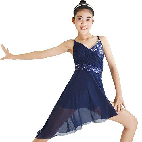 k Paillettenbesetzte Hoch-Niedrig Latin Dress Lyrischen Tanz - Kostüm (Marineblau, XLA) (Tanz Kostüme Lyrischen)