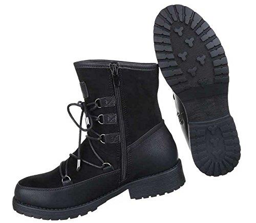 Damen Boots Stiefeletten Schuhe Mit Schnürung Schwarz Grau Braun 36 37 38 39 40 41 Schwarz