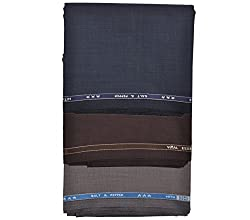 Vimal Trouser Fabric for Men (Pack of 3) Color: Blue , Coke & Rusty, Size: 1.2 Meters