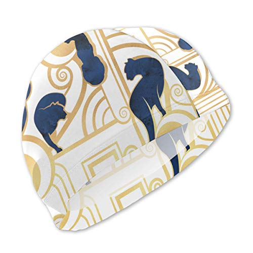 Guan_Collection Badekappen für Kinder Deko Gatsby Panthers Normal Scale Weiß Navy Gold Badekappen Bademütze Kid Sonnenhut