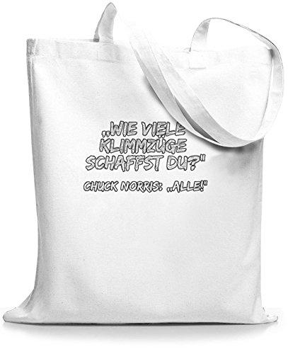 StyloBags Jutebeutel / Tasche Wie viele Klimmzüge Chuck Weiß