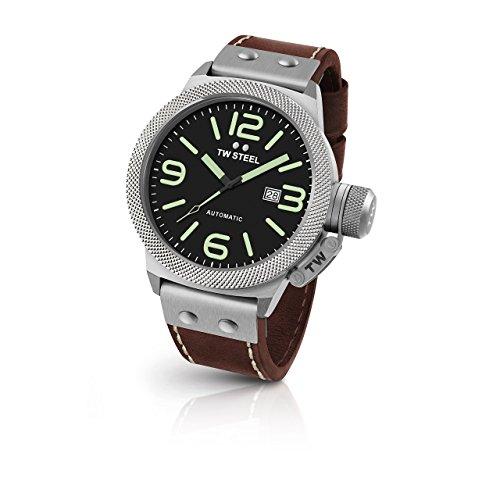 TW Steel Cs26en acier inoxydable pour homme Canteen Marron Bande de cuir Cadran noir montre