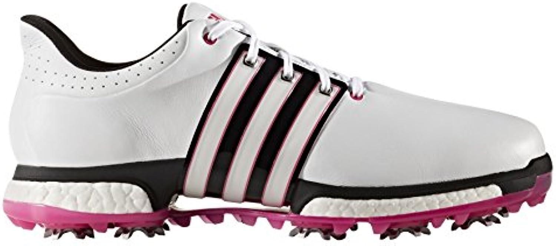 adidas Tour360 Boost, Zapatos de Golf para Hombre, Blanco/Negro/Rosa, 40 EU