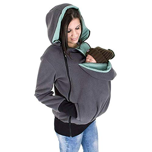 Price comparison product image Exclusive Version-NeuFashion Double Thick REAL Baby carrier hoodie jacket Kangaroo coat / jacket Women Maternity Pregnant Top Baby Wearing Baby Holder Fleece Hooded Sweatshirt,  Grey,  XXX-Large