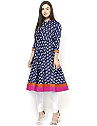 AnjuShree Choice Women's Cotton Blue Printed Stitched Anarkali Kurta Kurti