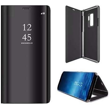 YES2GOOD - VIVO V17 PRO Mirror Flip Case Cover - Luxary Smart Semi Clear View Standing Mirror Flip Back Cover for VIVO V17 PRO (Black)