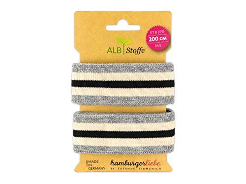 Albstoffe Stripe Me Glam Check Point Band Silber-meringa-schwarz -
