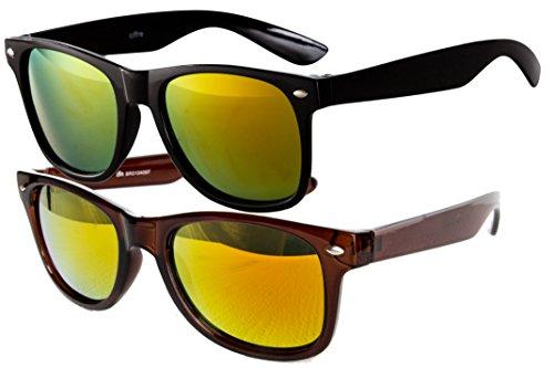 Ciffre 2 er Set EL-Sunprotect Sonnenbrille Nerdbrille Brille Nerd Feuer Verspiegelt Schwarz + Braun
