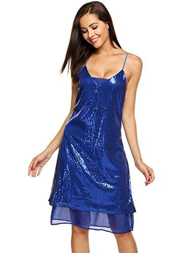 Meaneor Damen Trägerkleid mit Pailletten Shimmer Glam Verziert Sparkle Paillettenkleid Cocktailkleid Partykleid (S, Blau)