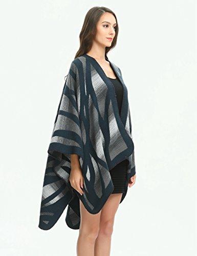 Ferand Poncho Cape Elegant für Damen, Stil Vorne Offen und Dicke für Herbst Winter Stil 4: Marineblau