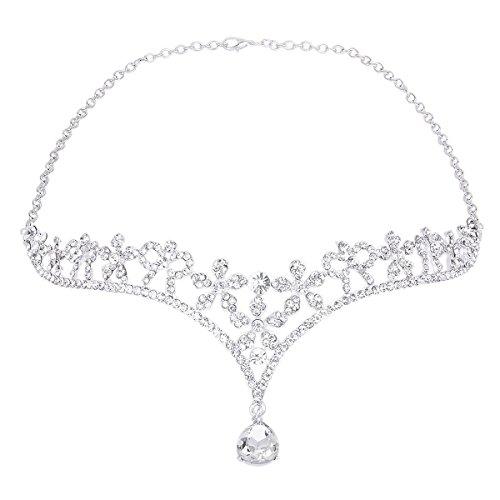 ROSENICE Tiara Brautschmuck Kristall Blume Haarband Stirnband Strass Haar Kette (Silber) (Galadriel Kostüm Kind)