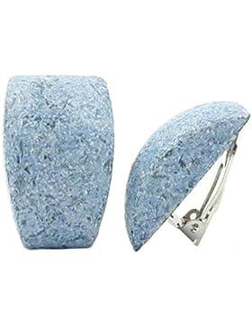 Unbespielt Modeschmuck Damen Schmuck Damen Ohrschmuck Ohrringe Ohrclip Trapez jeansblau marmoriert 27 x 17 mm