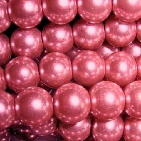 200 pezzi, 4 mm, con perline di vetro, A0924, colore: rosa