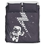 NC83 NASA Spaceman Sag Hallo Bettwäsche-Set Retro 3-teilig Bettbezug - Blitz Soft Comfort Boho Bettwäscheset Übergröße Queen White 264x229cm