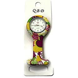QBD Clip Series-Nurses Glowing Hands Red Cross Patterned Silicon Rubber Fob Watch - Yellow/Pink