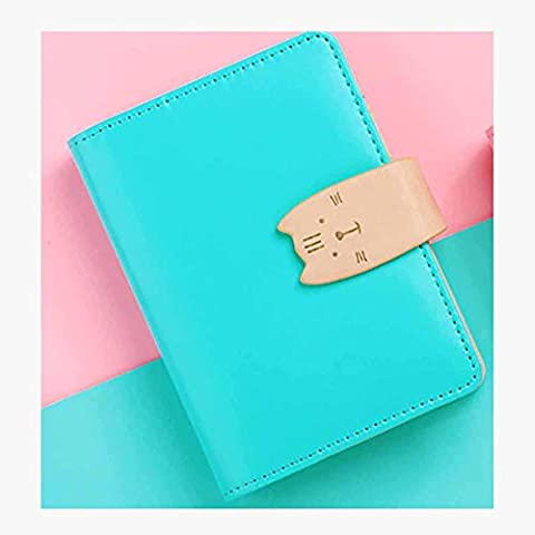 BBIAY A7 Pu Notebook Simple Girls Series Haspe à feuilles mobiles Mini avec 3 feuilles mobiles Cores Pen Attached Take Note Book 8.3 * 12.8CM , blue