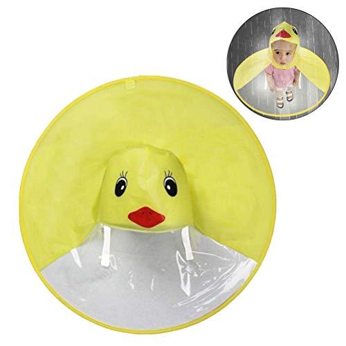 D&D DD Chubasquero para Niños, Dibujos Animados Pato Forma de OVNI Plegable Manos Libres Sombrero Paraguas Capa de Lluvia
