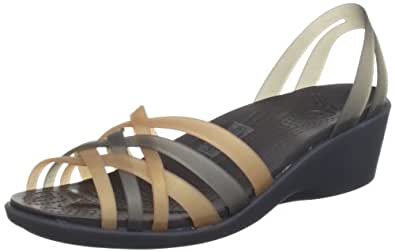 crocs Women's 14384 Huarache Mini Wedge,Bronze/Espresso,10 M US