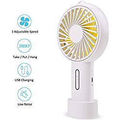 FOCHEA Ventilateur à Main, Mini Ventilateur USB Silencieux, Ventilateur Rechargeable Portatif de Table avec 3 Vitesses pour Maison, Bureau, Voyage (Blanc)
