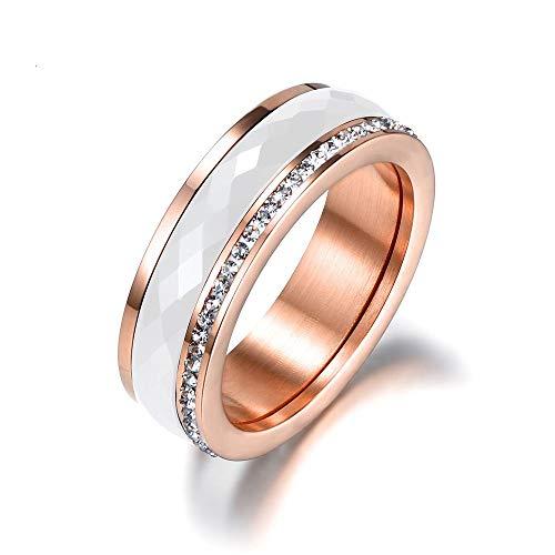 ZHOUYF RING Verlobungsringe Klassische Titanium Stahl Weiß Keramik Ringe Schmuck Gold Farbe Zirkonia Hochzeit Verlobungsringe Für Frauen Anneaux, A, 8# - Hochzeit Ring Gold-weiss