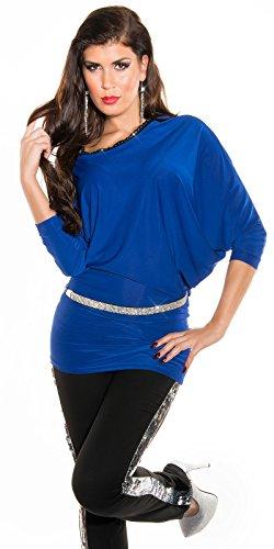 Sexy KouCla PartyLangarmschirt Asymmetrisch+Strass Koucla by In-Stylefashion SKU 0000K-82201 Blau