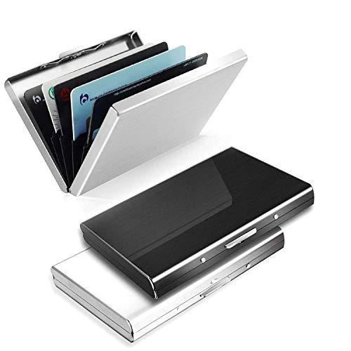Kreditkartenetui 3 Stück aus Metall, RFID Schutz Kreditkartenhülle, ZOYJITU Kreditkartenetui Kartenetui aus Aluminium(Schwarz+Silber), 6 Fächer für bis zu 10 Karten, Slim Wallets, Frauen/Männer