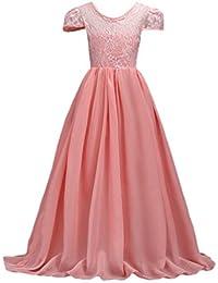 NiSeng Mädchen Kleider Lange Brautjungfern Kleider Festlich Hochzeit Party  Prinzessin Kleid Blumenmädchen Cocktailkleid 4a870a077f